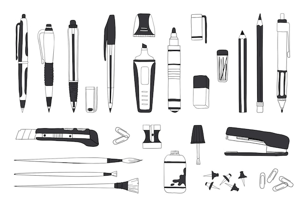Hand drawn stationery. doodle pen pencil and paintbrush tools, school and office accessories sketch.