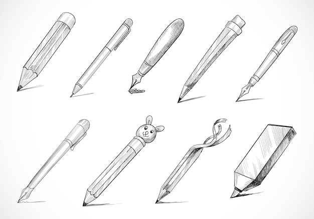 Hand drawn stationery pen sketch set design