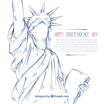 Hand-drawn statue of liberty background