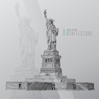 Hand drawn statue of liberty