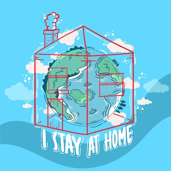 Hand drawn stay at home concept