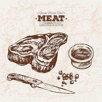 Hand drawn steak and sauce