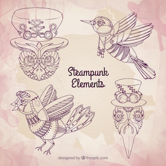 Hand drawn steampunk birds