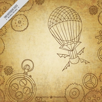 Hand Drawn Steampunk Machinery Background