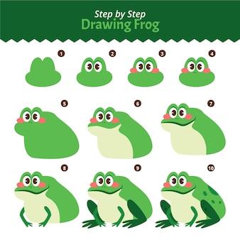 Рисованной шаг за шагом рисунок лягушки Бесплатные векторы