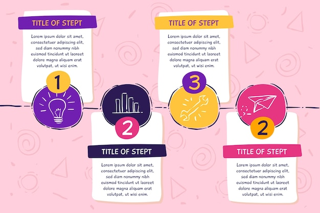 Hand drawn steps infographic