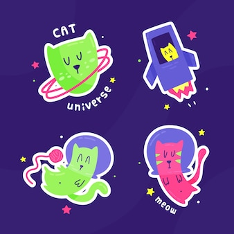 Hand drawn sticker cats in space