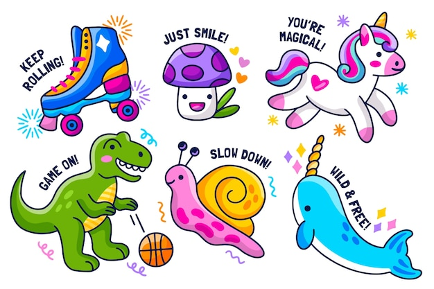 Hand-drawn sticker collection