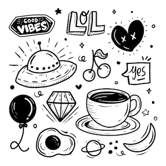 Hand drawn sticker set collection of coffee