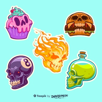 Hand drawn stickers collection in skull shapes