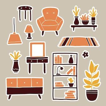손으로 그린 스티커 거실 가구, 소파, 의자, 집 식물, 플로어 램프, 선반, 카펫 세트. 간단한 유행 플랫 스타일.