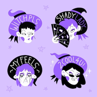 Hand drawn stickers with purple and black witches set