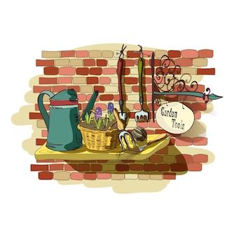 Ручной обращается натюрморт садовых инструментов