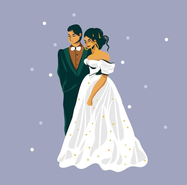 보라색 배경에 고립 된 웨딩 커플 손으로 그린 주식 추상 그래픽 평면 그림