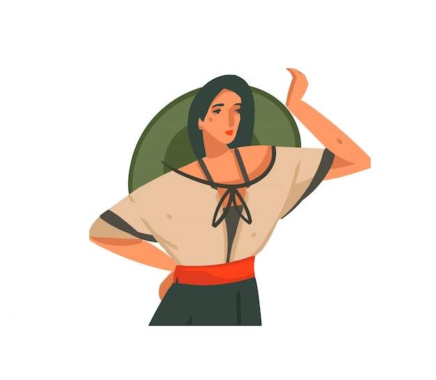 Hand drawn  stock abstract graphic illustration with a girl in hat and uniform on a wild safari  on white background