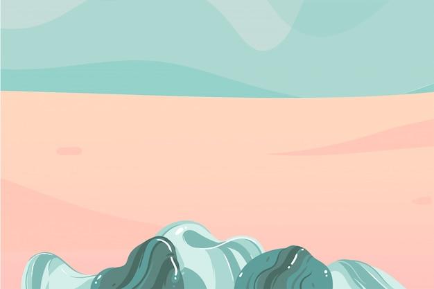 背景にタイポグラフィの誰もいないコピースペース場所と海の波海岸シーンと手描きストック抽象的なグラフィックイラスト