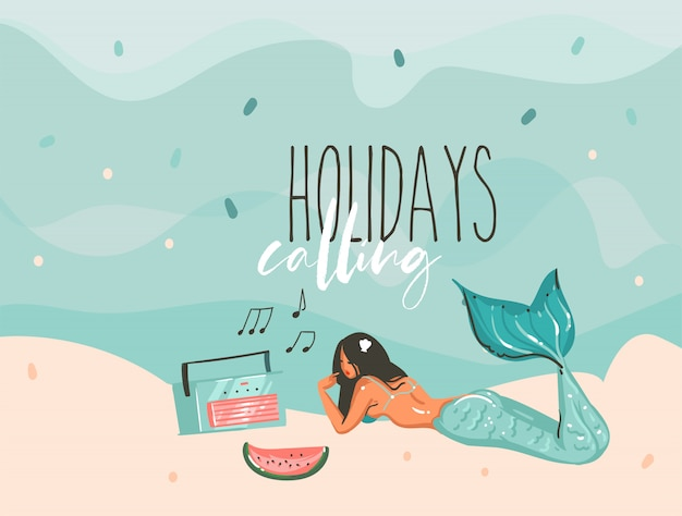 Hand drawn stock abstract graphic illustration with a sunbathing mermaid young girl lying on ocean beach seashore and holidays calling typography text isolated on colour background