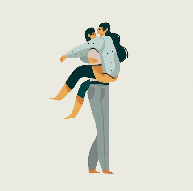 Hand drawn  stock abstract graphic illustration with young romantic guy holding beautiful girl in his arms isolated on white background