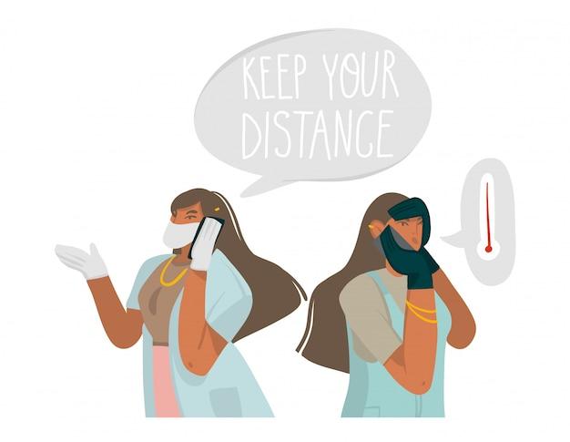 手描きの女の子のキャラクターの抽象的なグラフィックイラストを描いたイラストはコロナウイルスの症状を発見し、自宅で医師に電話し、白い背景で隔離のテキストを手書き