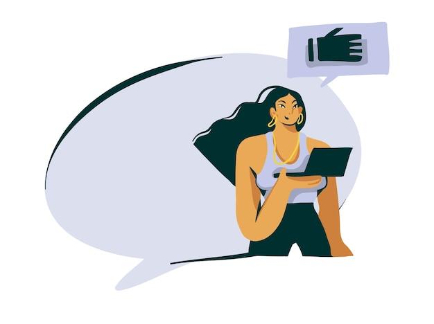 어린 소녀와 함께 손으로 그린 재고 추상적 인 그래픽 일러스트는 그녀의 손과 흰색 바탕에 연설 거품 공간에 노트북 컴퓨터를 보유하고있다.