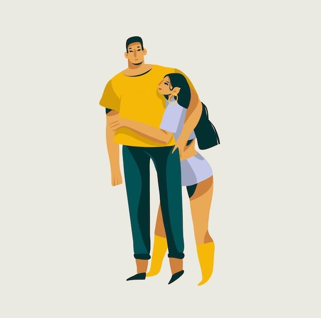 手描きの白い背景に分離された一緒にロマンチックなカップルと抽象的なグラフィックバレンタインデーイラスト