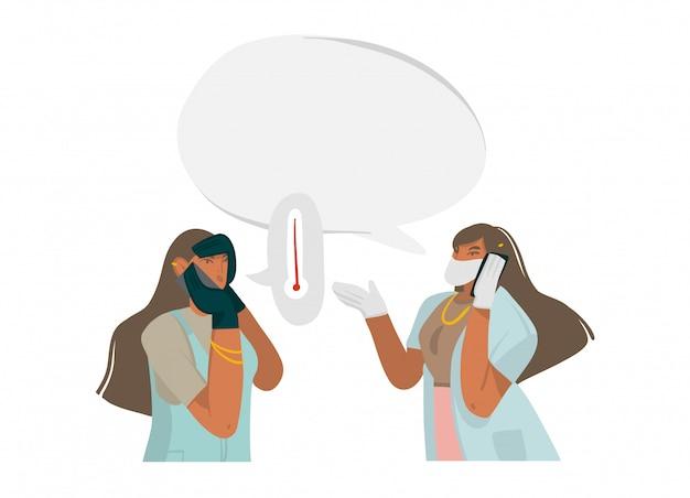 여성 의사와 손으로 그린 주식 추상 그림 전화, 흰색 배경에 병원에서 얼굴 마스크와 장갑에서 보호 잘 전화를 제공합니다