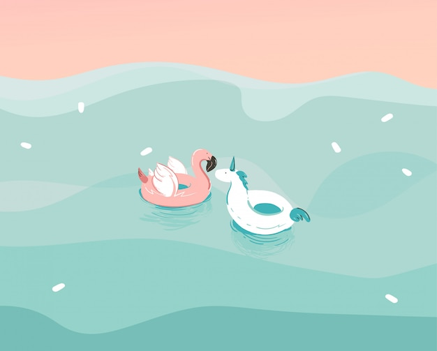 Hand drawn  stock abstract  illustration with a unicorn and flamingo swimming rubber float rings in ocean waves landscape  on blue background