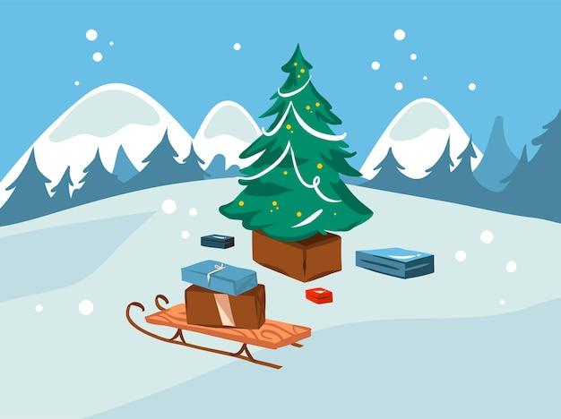 손으로 그린 재고 평면 메리 크리스마스 만화 그림 크리스마스 트리, 썰매와 하얀 겨울 풍경에 고립 된 선물 상자 선물