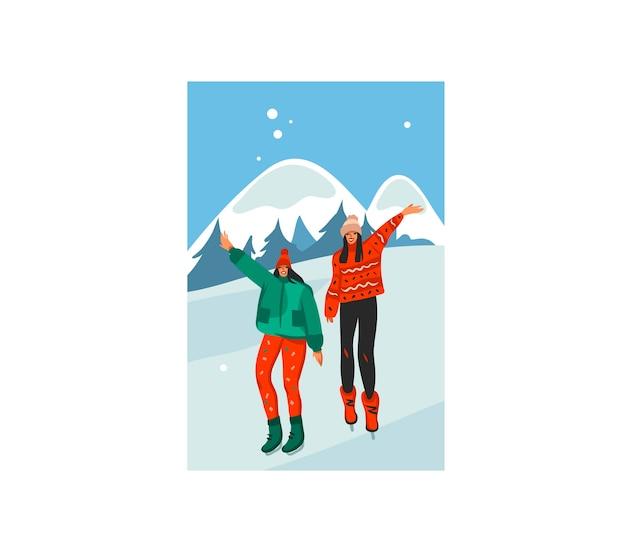 손으로 그린 재고 평면 메리 크리스마스 시간 만화 축제 그림 함께 걷는 크리스마스 행복 한 여자 겨울 풍경에 고립