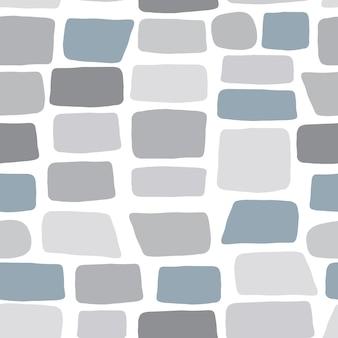 Ручной обращается каменные обои. текстура кирпичной стены. бесшовный узор из гальки. векторная иллюстрация