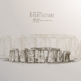 Hand drawn stonehenge against white background.