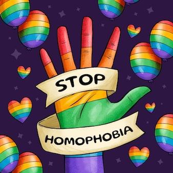 손으로 그린된 중지 동성애 공포증 개념 그림