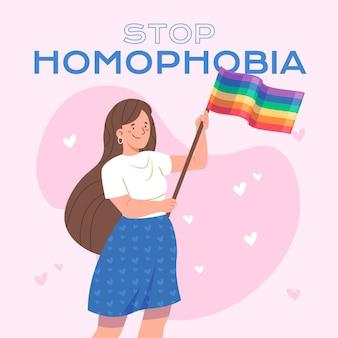 Нарисованная рукой концепция остановки гомофобии