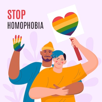 Hand drawn stop homophobia concept