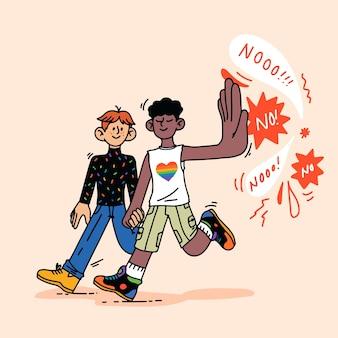손으로 그린된 중지 동성애 공포증 개념
