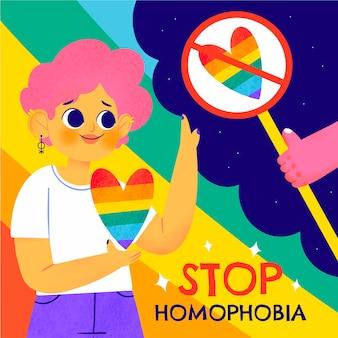 Нарисованная рукой иллюстрация остановки гомофобии