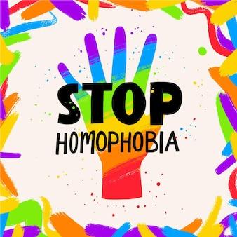 Illustrazione disegnata a mano dell'omofobia di arresto nei colori dell'arcobaleno