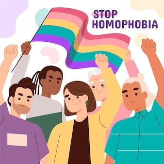 손으로 그린 정지 동성애 공포증 그림