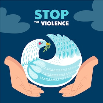 Hand drawn stop the violence illustration