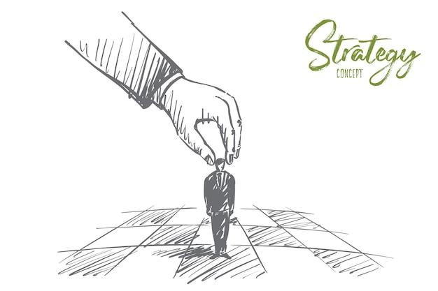 Нарисованный рукой эскиз концепции стратегии с человеческой рукой