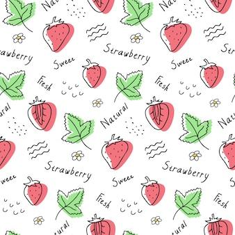 손으로 그린된 딸기 원활한 벡터 패턴입니다. 열매, 잎 및 글자.
