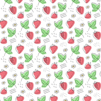 Hand drawn strawberry seamless vector pattern. berries, leaves.