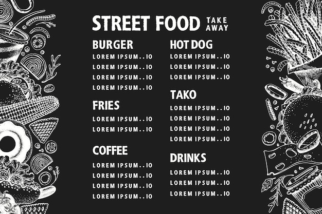 Hand drawn street food banner. vector fast food illustrations on chalk board. vintage junk food background