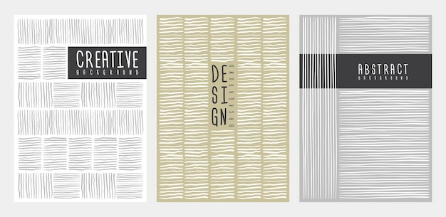 手描きのストライプラインがデザインをカバーしています。ポスター、チラシ、表紙のテンプレート。ベクトルイラスト。