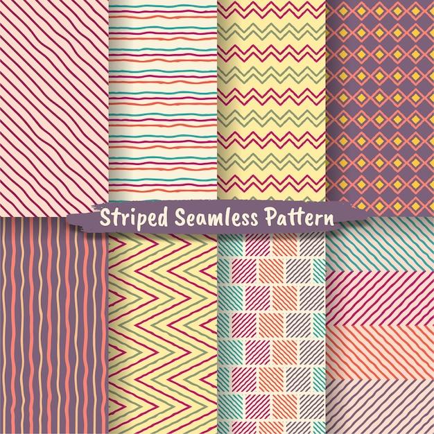 손으로 그린 스트라이프 원활한 패턴 세트, 손으로 그린 패턴 낙서 디자인