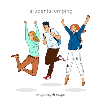 Hand drawn student jumping