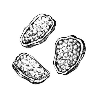 손으로 그린 박제 고추 그림입니다. 추수 감사절 저녁 식사 메뉴 요소. 가을 음식. 치즈 먹거리 레시피 스케치가있는 전통 고추. 포장, 라벨, 메뉴, 레시피에 적합합니다.