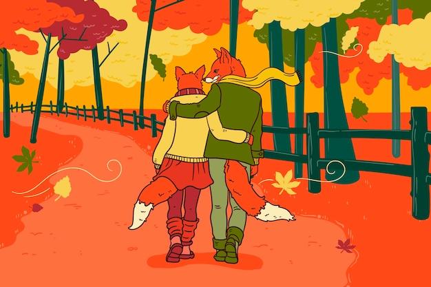 Hand drawn style autumn background