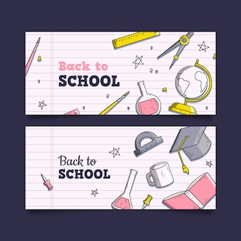 Stile disegnato a mano torna a banner scolastici
