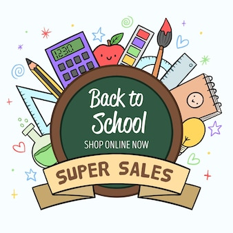 Hand drawn style back to school sales